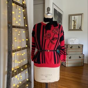 VINTAGE Koret red and black pull over sweater